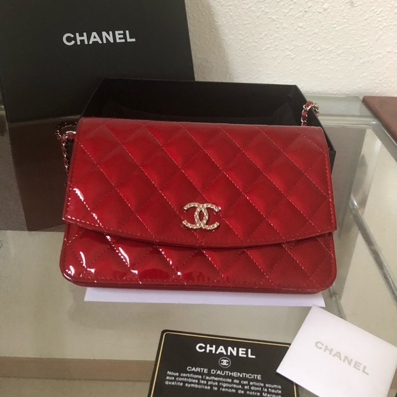 bbd8f34af6b2 CHANEL Handbags - CHANEL Wallet on Chain WOC Ruby Red Patent Leather